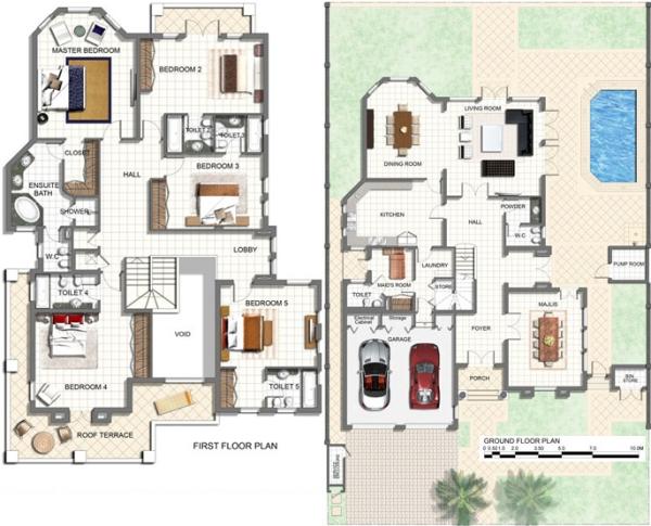 Villa Design Plan D  Bedrooms